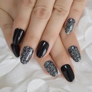 Ovalado Corto Negro Faux Ongles Off White Crossing Diseño Señoras Moda Arte De Uñas Decoradas Puntas Con Pegamento Pestañas 24 Ct