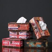 Caja de pañuelos Vintage de cuero resistente al agua caja de pañuelos para mesa