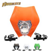 цена на Universal Motorcycle Headlamp 12V 35W KTM Headlight Motorcycle Dirt Bike Waterproof Motocross Supermoto Enduro Headlight