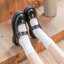 Lolita sapatos planos na plataforma sapatos femininos mary janes sapatos de couro preto fivela de salto baixo meninas sapatos primavera outono 8644n