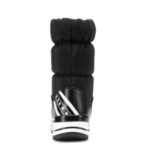 Image 4 - ウェッジ雪のブーツ女性の冬のダウンロング暖かいフラットシューズ女性 A324 ファッション女性ブラックホワイトレッドラウンドトゥプラットフォームアンクルブーツ
