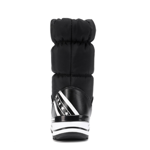 Image 4 - Cales bottes de neige femmes hiver bas longues chaussures plates chaudes femme A324 mode dame noir blanc rouge bout rond plate forme bottines