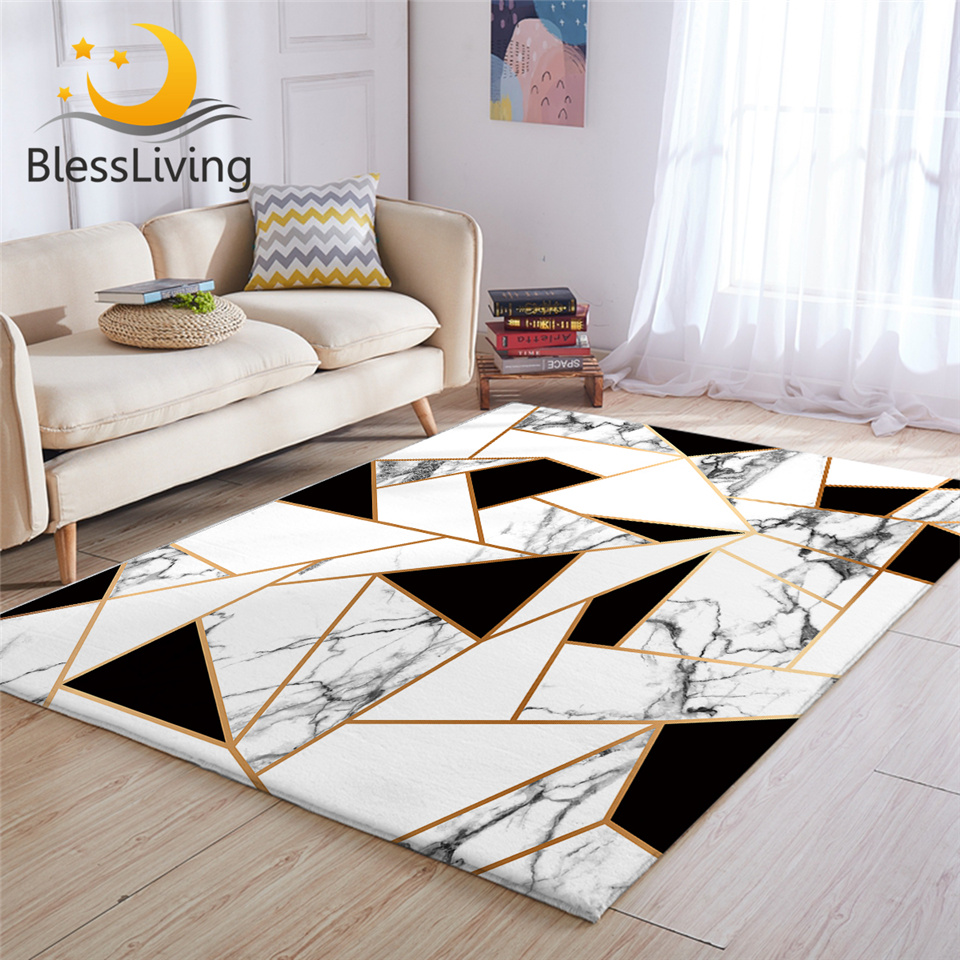 BlessLiving Geometric Carpets For Living Room Black And White Center Rug Marble Texture Floor Mat Modern Alfombra Dormitorio