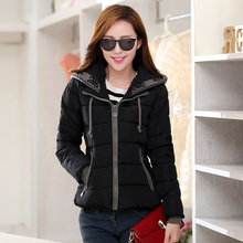 KMVEXO 2019 Casual Winter Solid Thick Jacket Women Short Cotton Padded Hooded Ladies Coat Female Parka Chaqueta Mujer Invierno