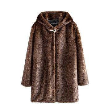 цена 2020 Large Size Loose Faux Fur Coat Women Winter Thick Warm Overcoat Imitation Fur Hooded Mink Coat Female Hooded Jackets OK322 онлайн в 2017 году