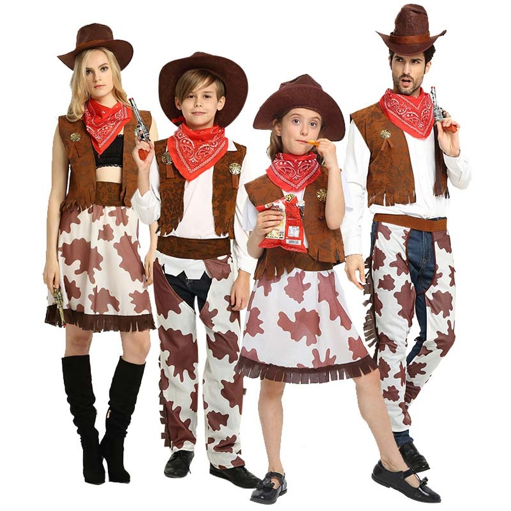 2019 Adult/children Halloween A Fancy Party Cowboy Costume,Cowgirl Cosplay Western Dress Suit Carnival Adult And Kids Costumes