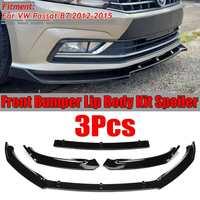 3PCS Car Front Bumper Splitter Lip Body Kit Spoiler Diffuser Guard Protecor Cover Trim For VW For Passat B7 2012 2013 2014 2015
