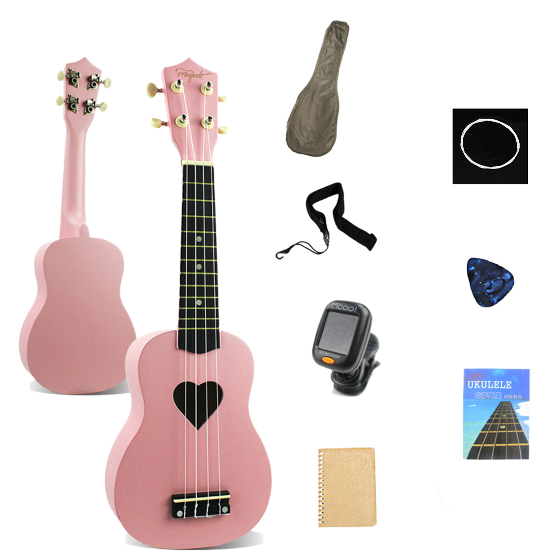21 Inches Wooden Ukulele 4 Strings Guitar Musical Instruments Kit/With Storage Case For Children Kids Christmas Gift- Pink Heart