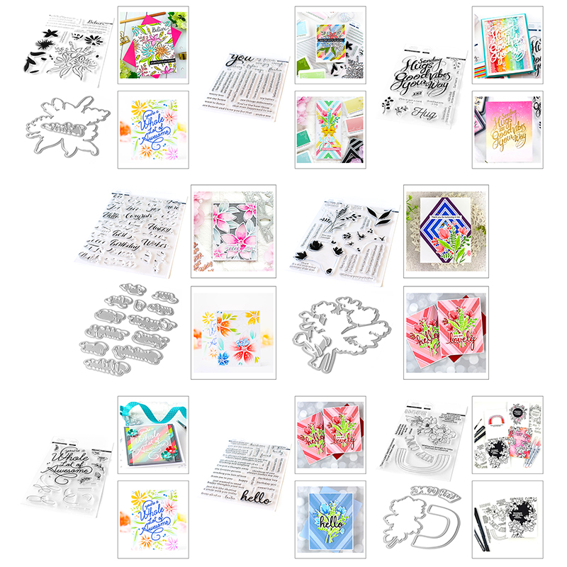 2020 New Hot Clear Valentine Flowers Sentiment Stamps And Words Metal Cutting Dies Sets For Scrapbooking Craft Foil Card Making