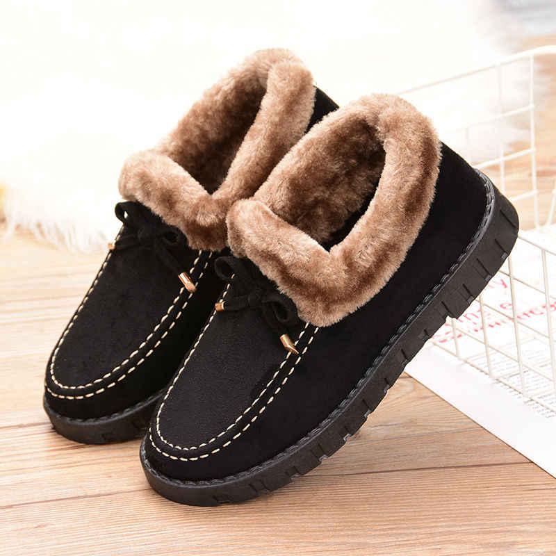 2019 zapatos de mujer de invierno con terciopelo mujer pisos suela gruesa deslizamiento en comodidad caliente mujer mocasines Piel de tacón plano calzado