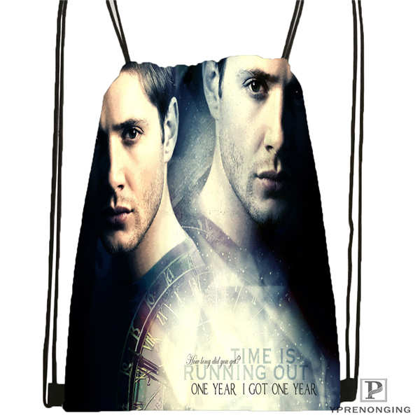 Custom Dean-supernatural-  Drawstring Backpack Bag Cute Daypack Kids Satchel (Black Back) 31x40cm#180611-03-112