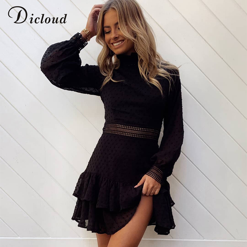 DICLOUD Black Dress Clothing Spring A-Line Long-Sleeve Elegant Mini Hollow-Out Sexy Fashion title=