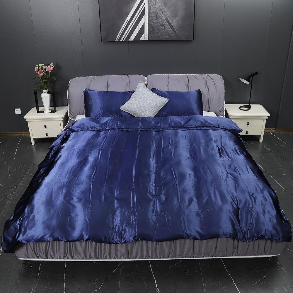 Yimeis ensembles de literie de luxe Satin linge de lit américain bleu Super roi couette