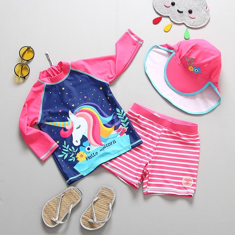 2PCS Girls' Unicorn Swimsuit Rashguard Set 2019 With Cap Kids Girl Long Sleeve Rash Guard Swimwear Set UV UPF 50+ 2-9 Years