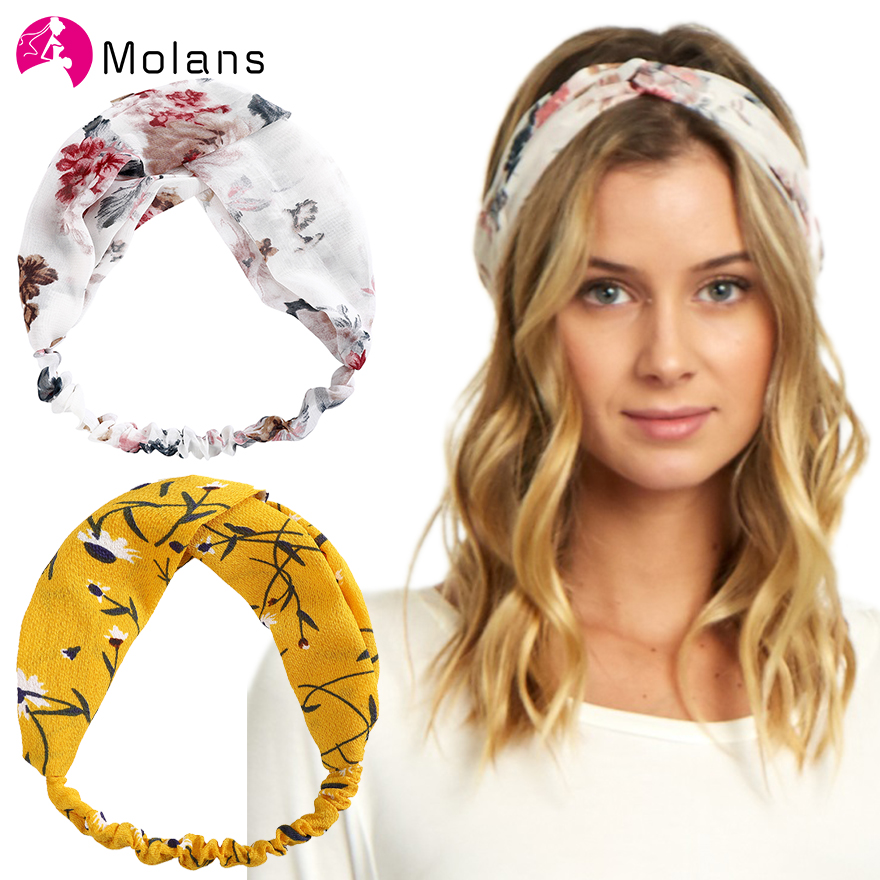 Molans Floral Printed Soft Headbands Vintage Cross Knot Elastic Bandanas Girls Hairbands Hair Accessories Flower Korea Headdress