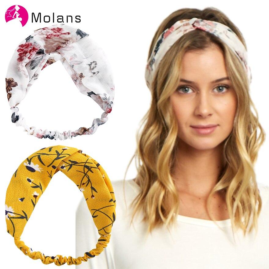 Molans Floral Printed Soft Headbands Vintage Cross Knot Elastic Bandanas Girls Hairbands Hair Accessories Flower Korea Headdress