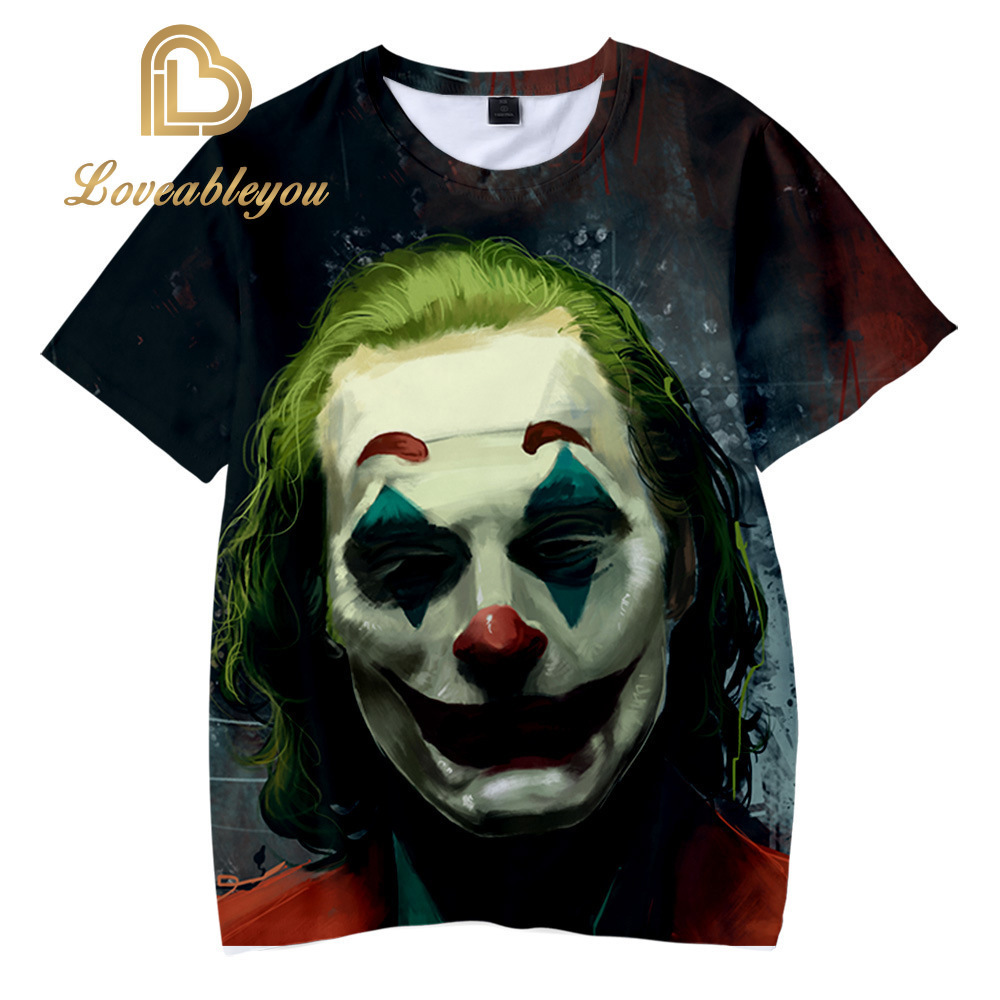 New Women Men T-Shirt Short Sleeve Tee Tops 3D Print Clown Carnival Themed Party