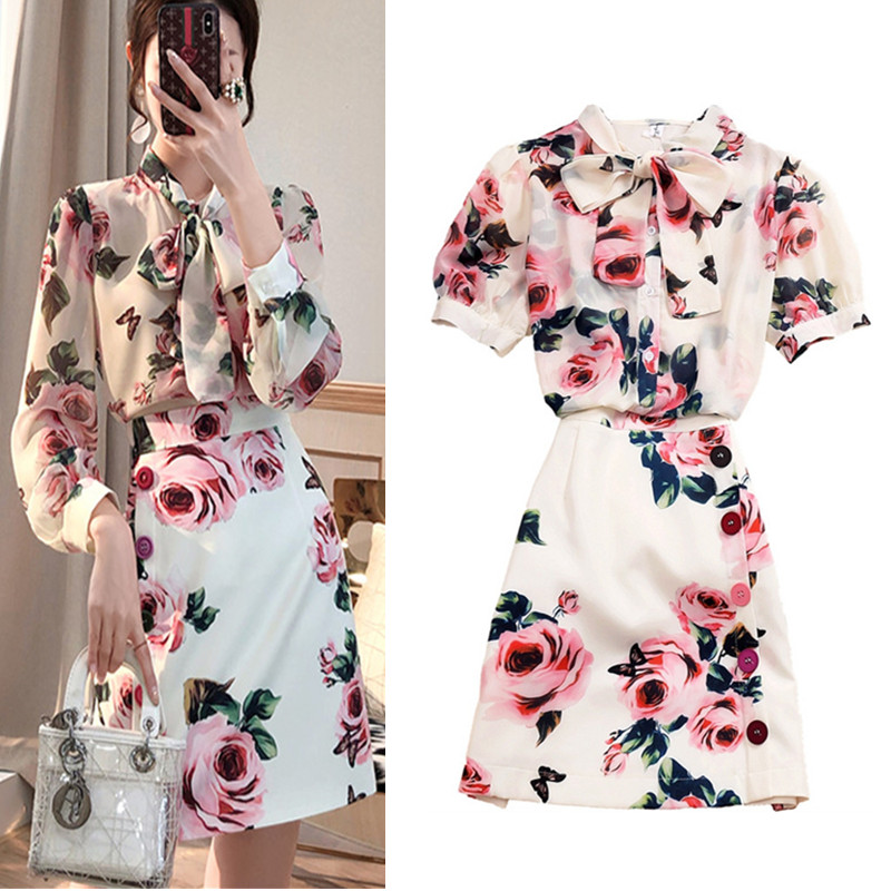 Runway Style 2 Piece Women Summer Twinsets Rose Print Bows Blouses Shirts Tops And Slim Buttons Ladies Skirt Suits NS641