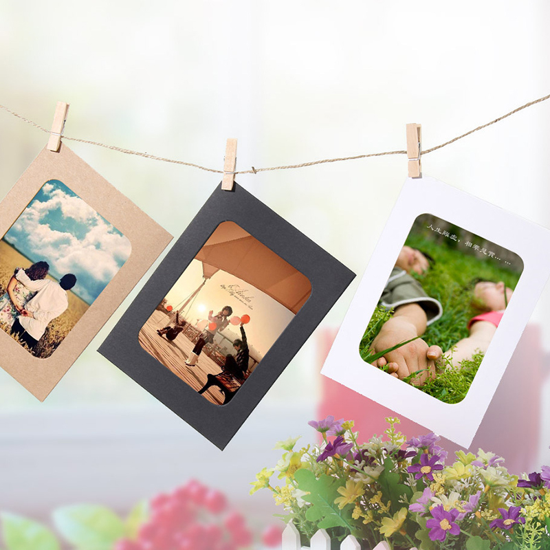 Paper Photo Frame Wall Hanging Picture Album Rope Clip DIY Home Clips DIY Kraft Paper Picture Home Decoration Craft