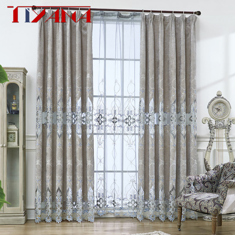 Luxury Style Bedroom European Chenille Curtains For The Living Room Window Shading Grey Cloth Of Dining Embroidery Tulle WP0783