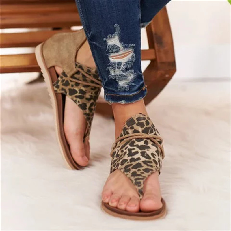 Women's Bohemian Sandals 2020 Summer Leopard Print Ladies Flat Shoes Plus Size Dropshipping Female Casual Beach Sandals