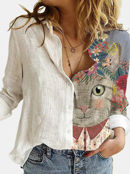 Lovely Cat Printed Polyester White Shirt Women Autumn Lapel Long Sleeves Single Breasted Blouses Female Streetwear Plus Size 1