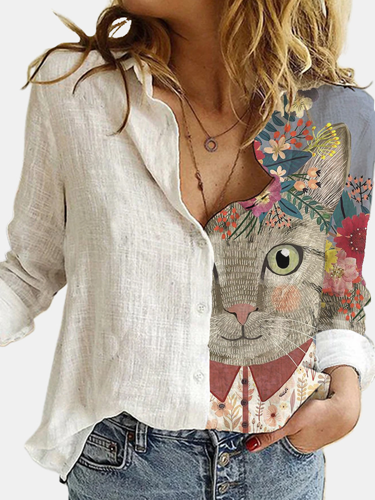 Lovely Cat Printed Polyester White Shirt Women Autumn Lapel Long Sleeves Single Breasted Blouses Female Streetwear Plus Size