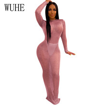 WUHE Bright Sexy Open Back Long Sleeve Night Club Dress Womens Clothing Elegant Perspective New Fashion Bodycon Vestidos Robes