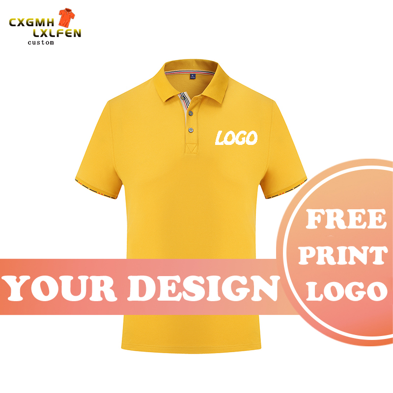7 colors in summer men and women can wear casual solid color lapel short-sleeved POLO shirt custom LOGO printing DIY brand text