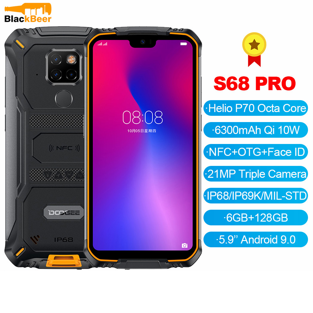 <font><b>DOOGEE</b></font> <font><b>S68</b></font> <font><b>Pro</b></font> 5.84 Inch Android 9.0 Mobile Phone Rugged <font><b>IP68</b></font> Drop Proof Smartphone MTK P70 6GB 128GB Cellphone 21MP AL Cameras image