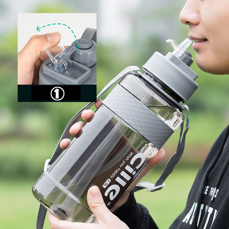 Double Mouth Sport Water Bottle BPA Free Sport Drinking Water Bottle with Straw 1L 2L Plastic Water Drinking Bottle for Water
