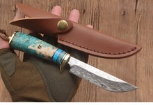 New Fixed Blade small Straight Knife VG10 Damascus Steel Blade Solidified wood Handle/Everyday home/Gift/ fruit knife+Holster