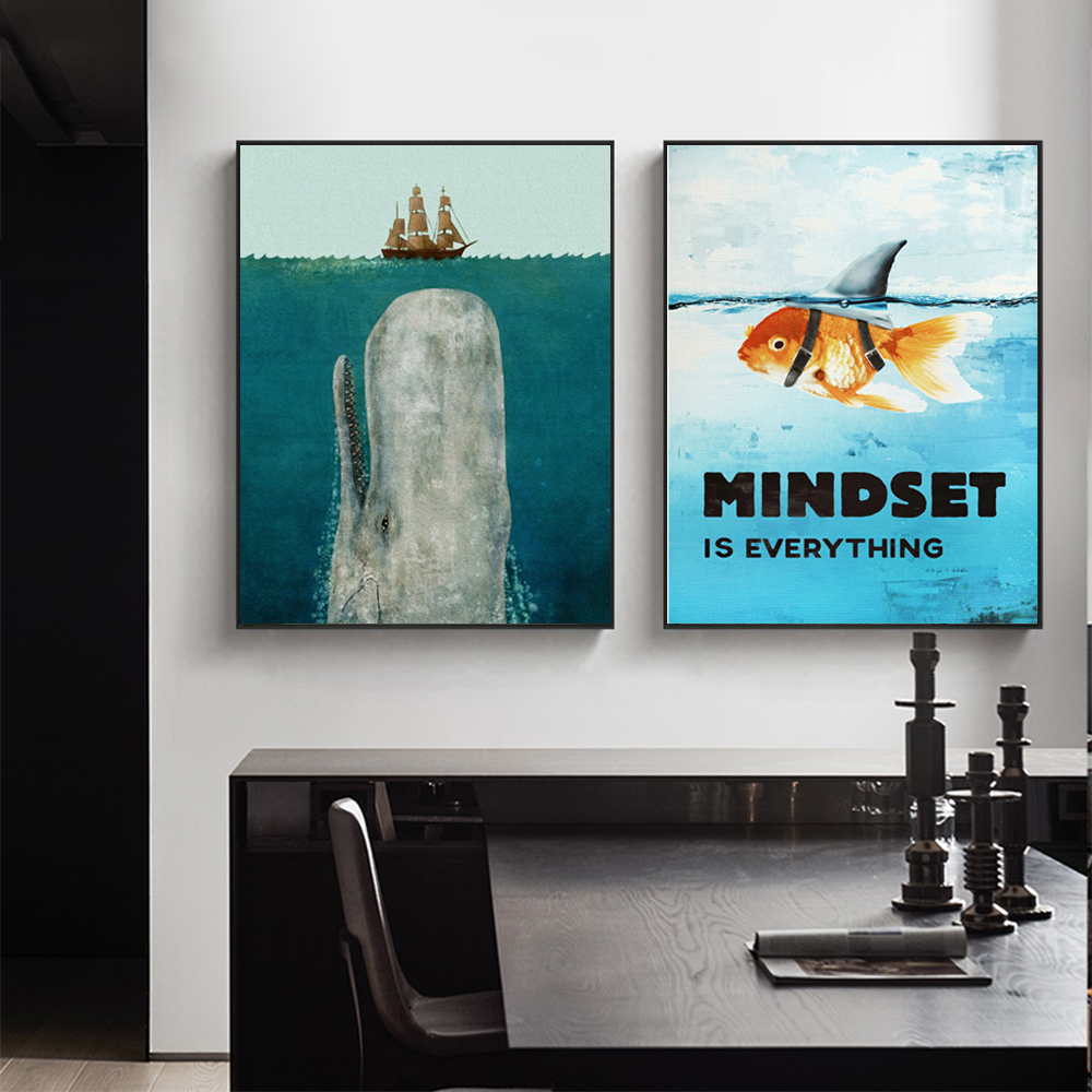 WANGART Quote Poster Mindset Everything Motivational Shark Fish Canvas Art Oil Painting Picture Living Room Office Home Decor image