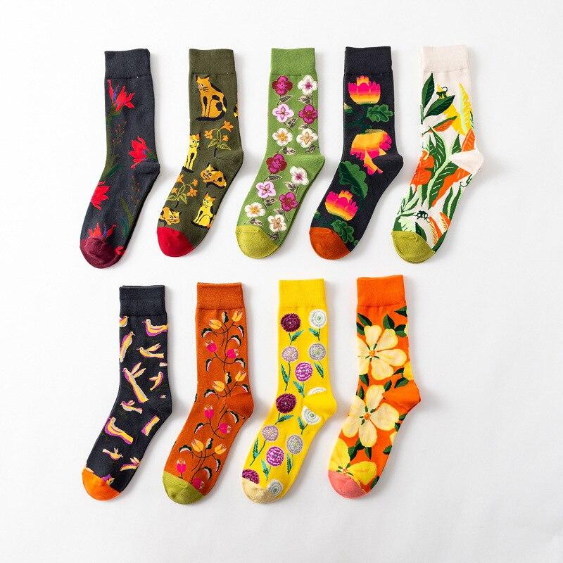 Men Funny Happy Socks Cartoon Animal Print Socks Flower Series Trend Socks Cotton Art Couple Socks Women Fall Winter Socks Set