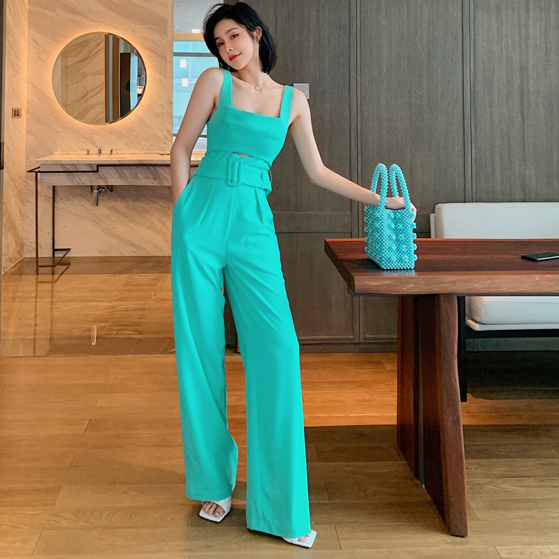 2020 Europe And The United States Fashion Summer New Sexy Backless Slim Bib Straight Jumpsuit