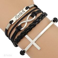 Faith Believe Fearless Bracelets Infinity Love Courage Jesus Loves Me Forgiven Sideways Cross Christian Leather
