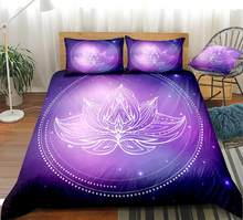 Buddha Lotus Flower Duvet cover set Bedclothes Mandala Bedding Set Purple Bed set Home Textiles Bedspread Dropship King size(China)