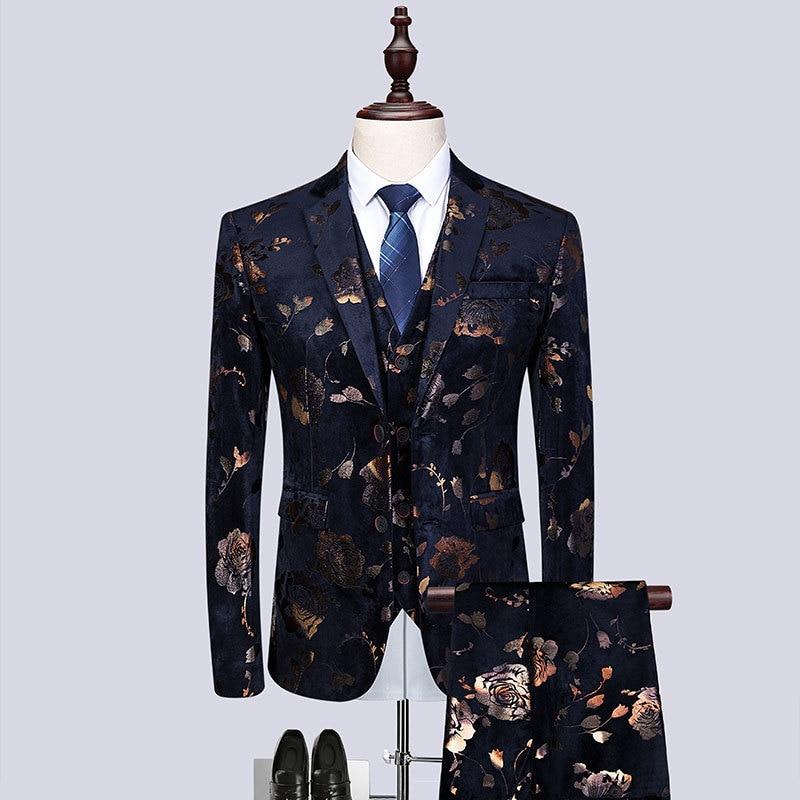 Haute qualité tissu doré imprimé Slim Fit robe de mariage costumes pour hommes 3 pièces Costume hommes nuit Club chanteur scène Costume Homme