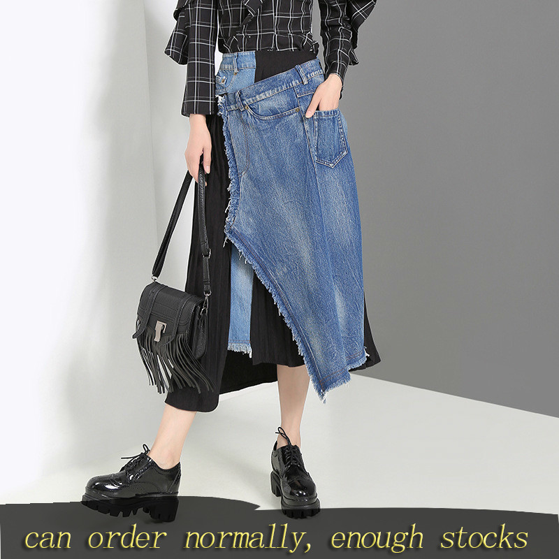 DEAT Stocks Spliced Pleated Irregular High Waist Denim Half-body Skirt Black Women Fashion Tide New Spring Autumn 2020 JZ265