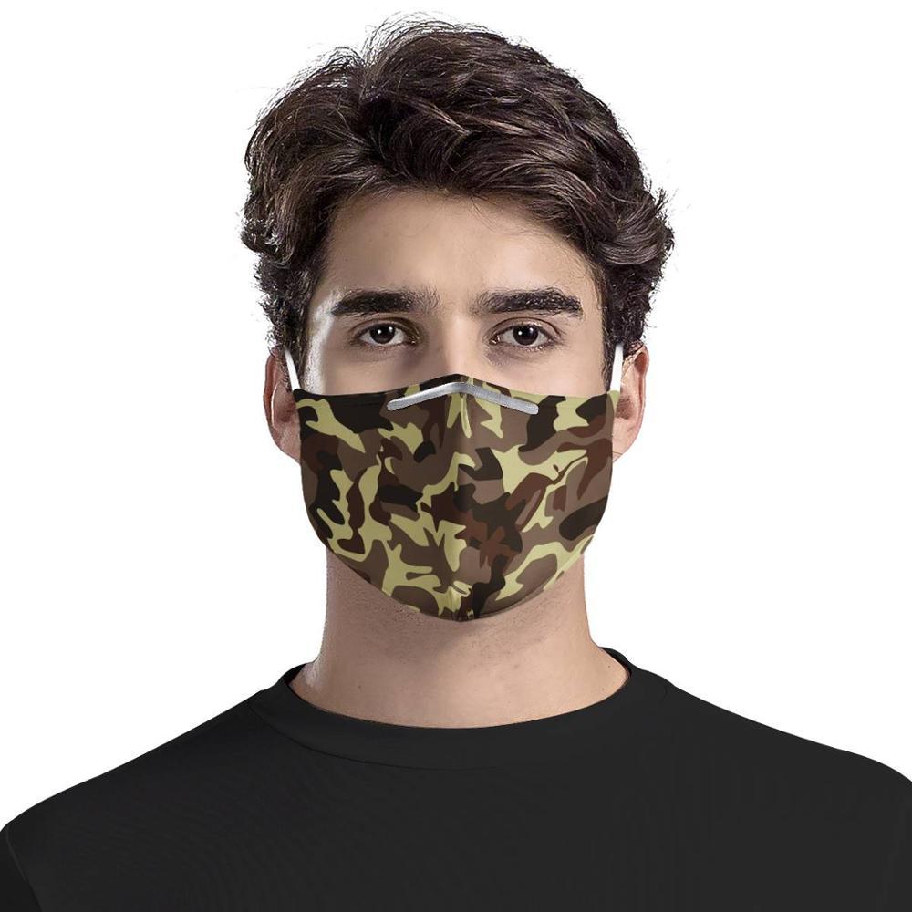 Customizable Graphics Masks 4Pcs Filter Masks Army Yellow Camouflage Carbon Insert Women Men Anti-dust Masks Reusable Face Mask