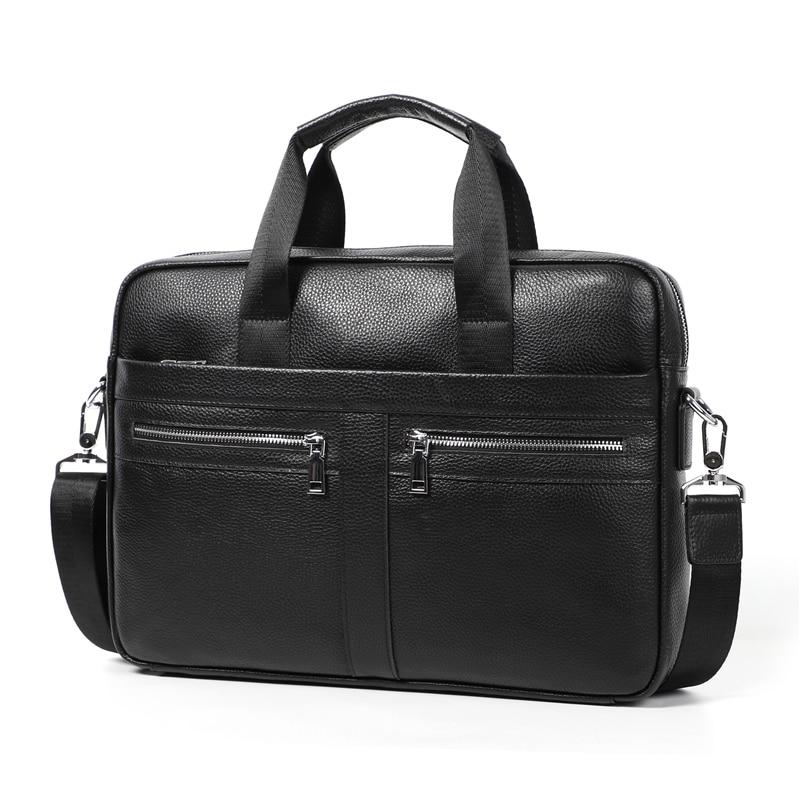 Nesitu A4 Black 100% Genuine Leather Office 14'' Laptop Men Briefcase Business Handbag Shoulder Messenger Bag Portfolio M6001