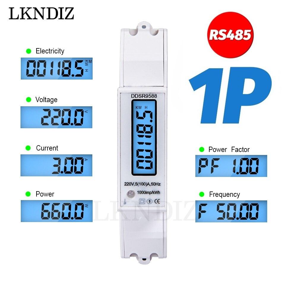 Однофазный измеритель мощности 5(100A) 220 В/230 В Din Rail RS485 Modbus-RTU