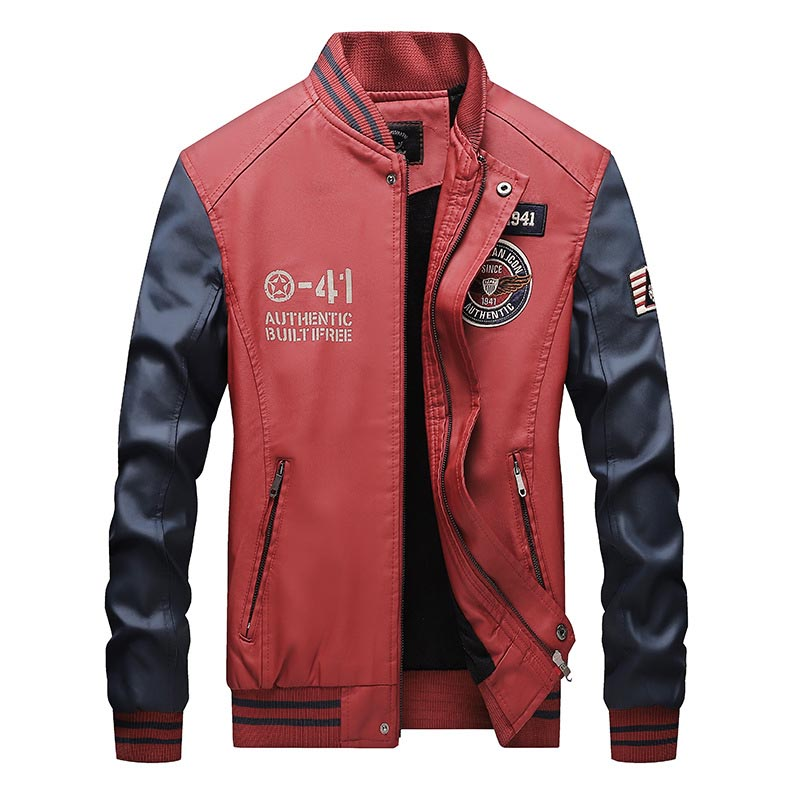 Fashion Men Pu Leather Jackets Block Color Faux Leather Badge Jackets Coats For Male Stand Collar (8)