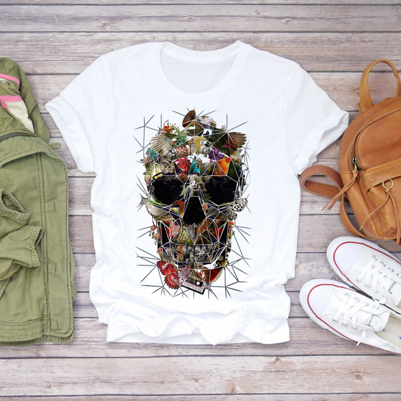 Women 2020 Summer Fashion Skull Butterfly Plant Short Sleeve Lady T-shirts Top T Shirt Ladies Womens Graphic Female Tee T-Shirt