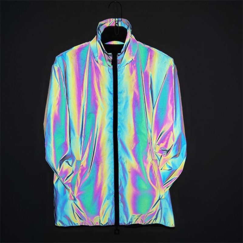 Reflective Turn Down Collar Jacket Women Holographic Colorful Zipper Oversize Coat 2020 Spring Outdoor Sportswear New Jacket