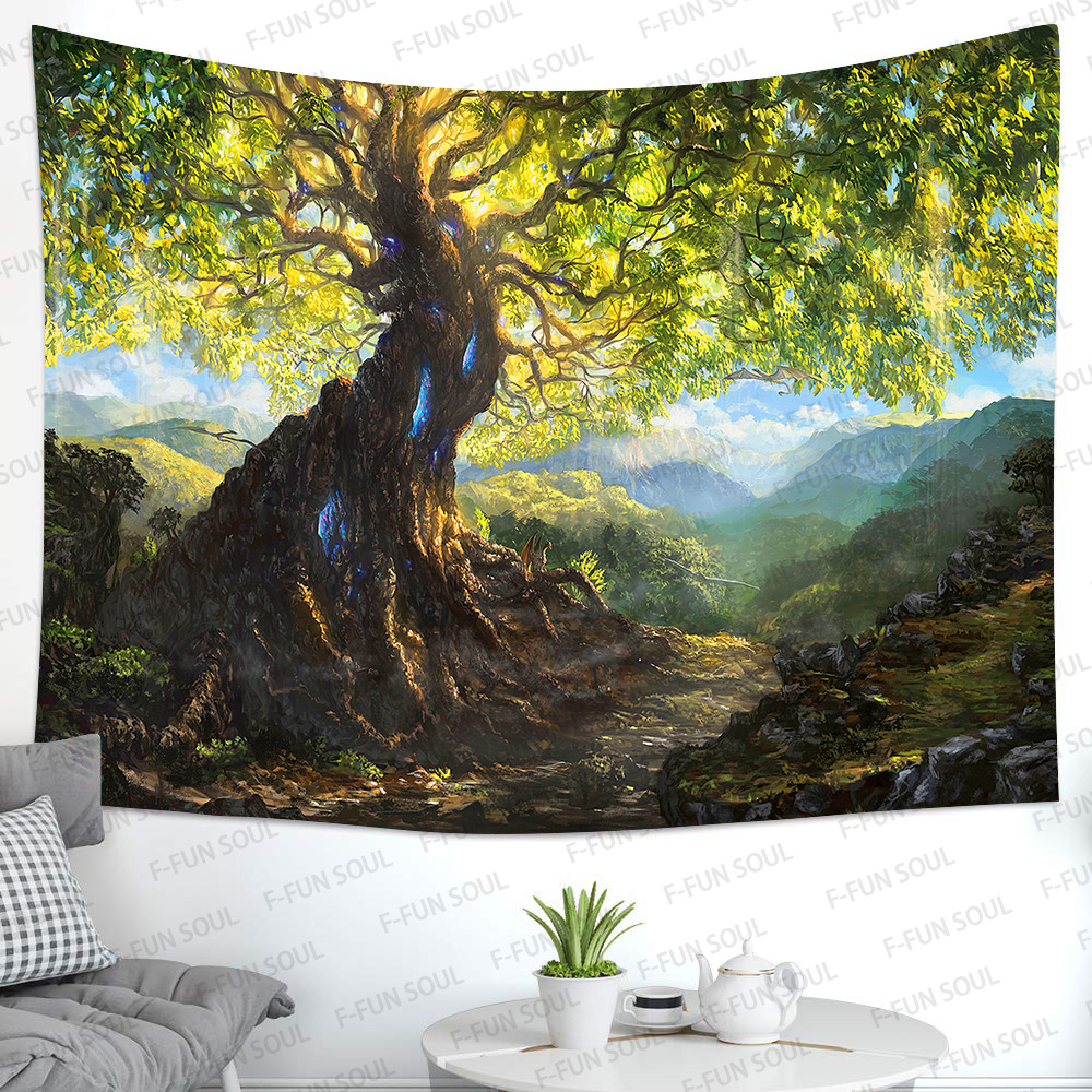 Simsant Psychedelic Forest Tree Tapestry Tree of Life Art Wall Hanging Tapestries for Living Room Home Dorm Decor
