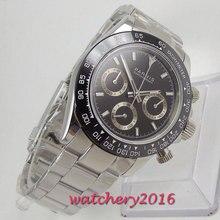 Parnis quartz chronograph relógio masculino topo da marca de luxo negócio piloto à prova dwaterproof água relógio de cristal safira masculino