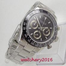 Parnis reloj cronógrafo de cuarzo para hombre, de marca superior, para piloto, de negocios, resistente al agua, de cristal de zafiro, Masculino
