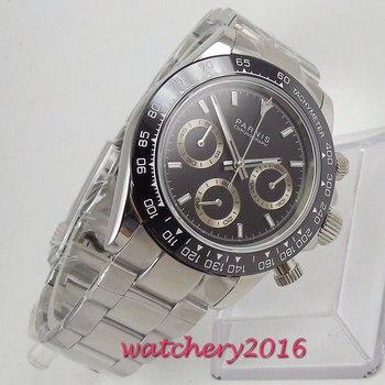 Parnis кварцевые часы с хронографом для мужчин Топ бренд класса люкс Пилот Бизнес водонепроницаемые сапфировые Кристаллы Мужские часы Relogio Masculino