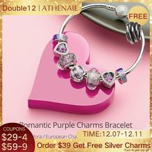 ATHENAIE 925 ayar gümüş romantik mor takılar bilezik ve bilezikler CZ boncuk kadınlar için sevgililer takı kız hediyeler